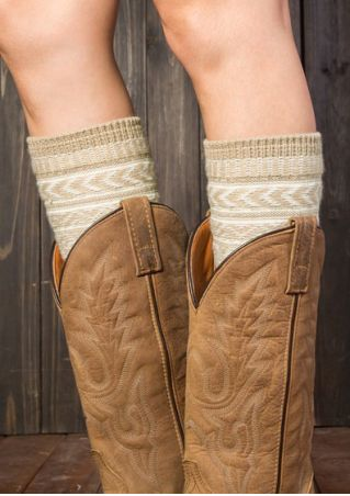 Geometric Warm Knitted Boot Cuffs