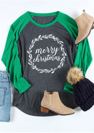 Plus Size Merry Christmas O-Neck Baseball T-Shirt