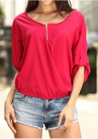Solid Zipper Tab-Sleeve Blouse