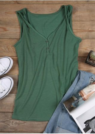 Solid Button V-Neck Tank