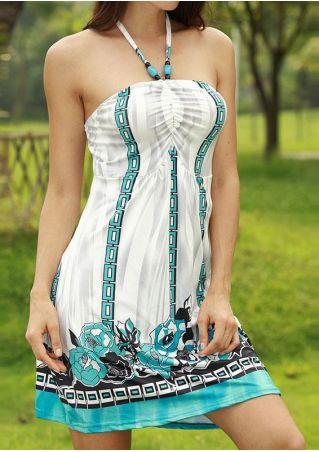 Floral Halter Runched Mini Dress