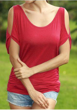 Solid Cold Shoulder O-Neck Blouse
