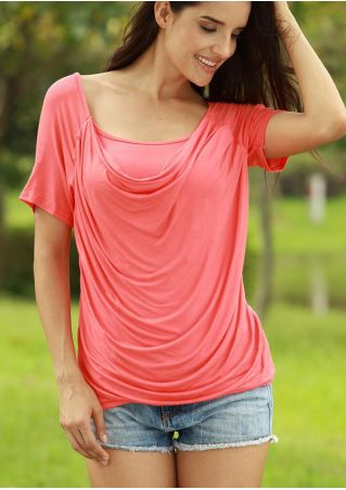 Solid Draped Short Sleeve Blouse