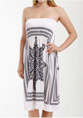 Printed Strapless Mini Dress