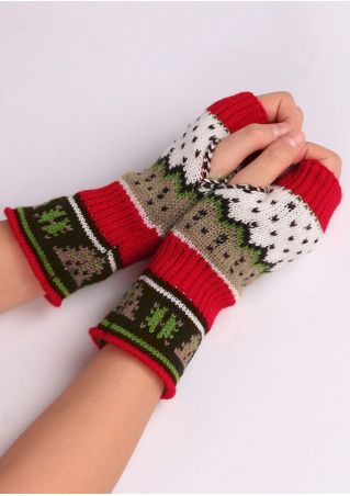 Christmas Print Fingerless Gloves