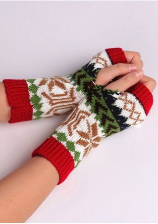Christmas Snowflake Fingerless Gloves