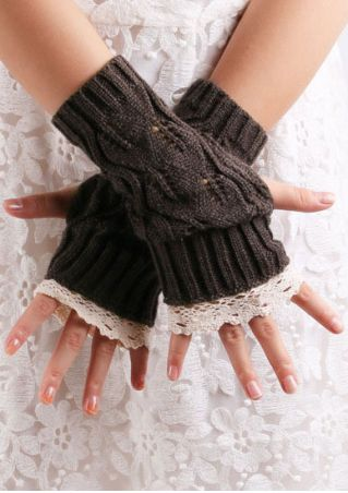 Lace Splicing Fingerless Gloves