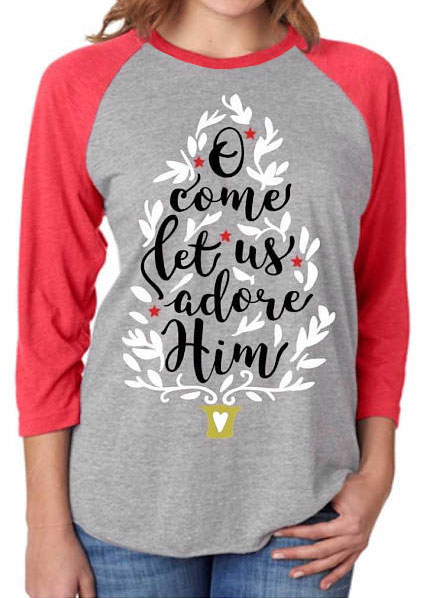 Christmas O Come Let Us Adore Him Baseball T Shirt G 41226