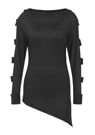 Solid Cold Shoulder Asymmetric Blouse