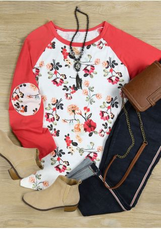 Plus Size Floral Splicing Elbow Patch Baseball T-Shirt