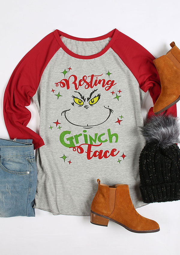Christmas Resting Grinch Face Baseball T Shirt Fairyseason