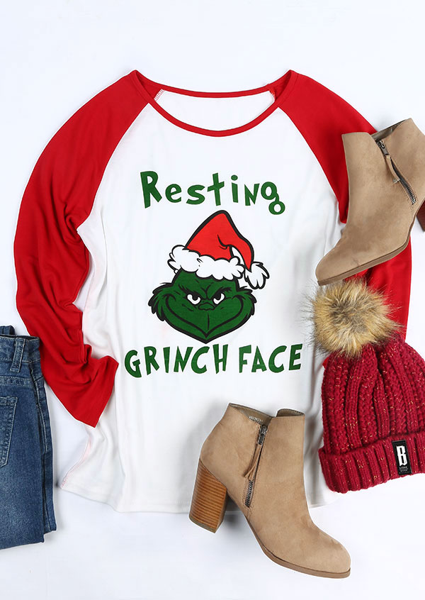 Christmas Resting Grinch Face O Neck Baseball T Shirt