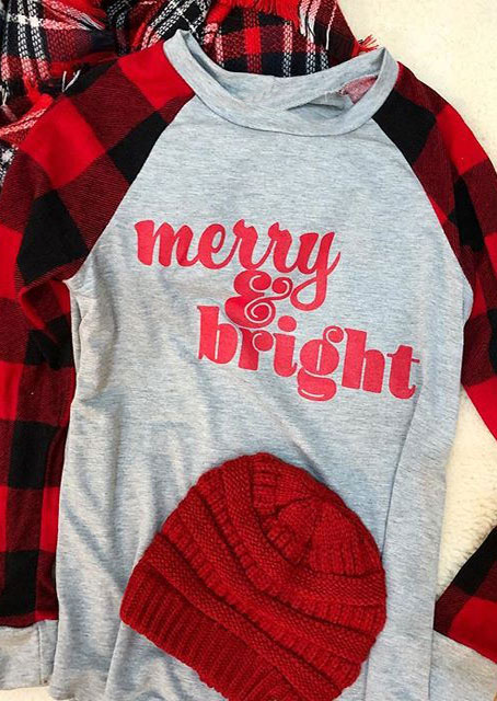 christmas plaid merry  u0026 bright baseball t-shirt