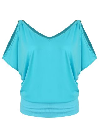 Solid Cold Shoulder V-Neck Blouse