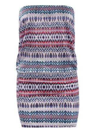 Geometric Printed Strapless Bodycon Dress