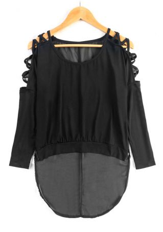 Solid Cold Shoulder Criss-Cross Blouse