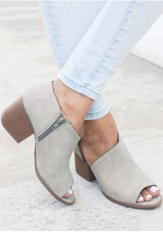 Solid Zipper Heeled Sandals