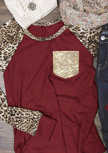 Leopard Printed Sequined Pocket Baseball T Shirt Fairyseason