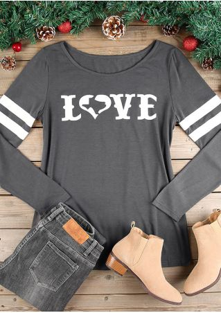 Love Striped Detail O-Neck T-Shirt