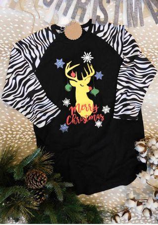 Merry Christmas Reindeer Snowflake Baseball T-Shirt