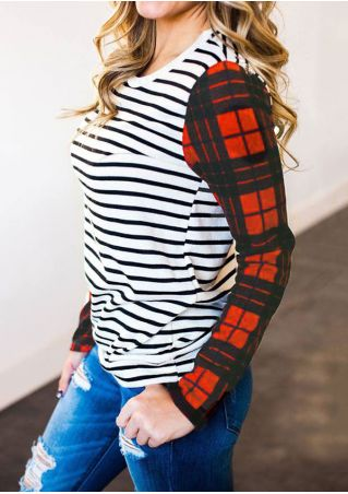 Striped Plaid Splicing O-Neck T-Shirt