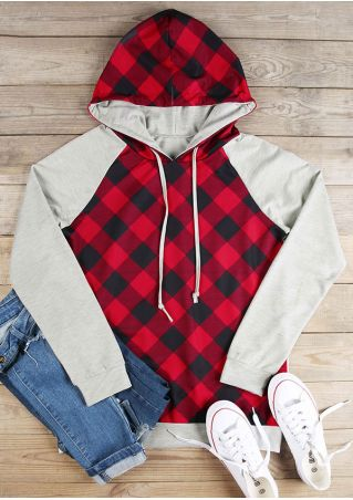 Plaid Splicing Long Sleeve Hoodie