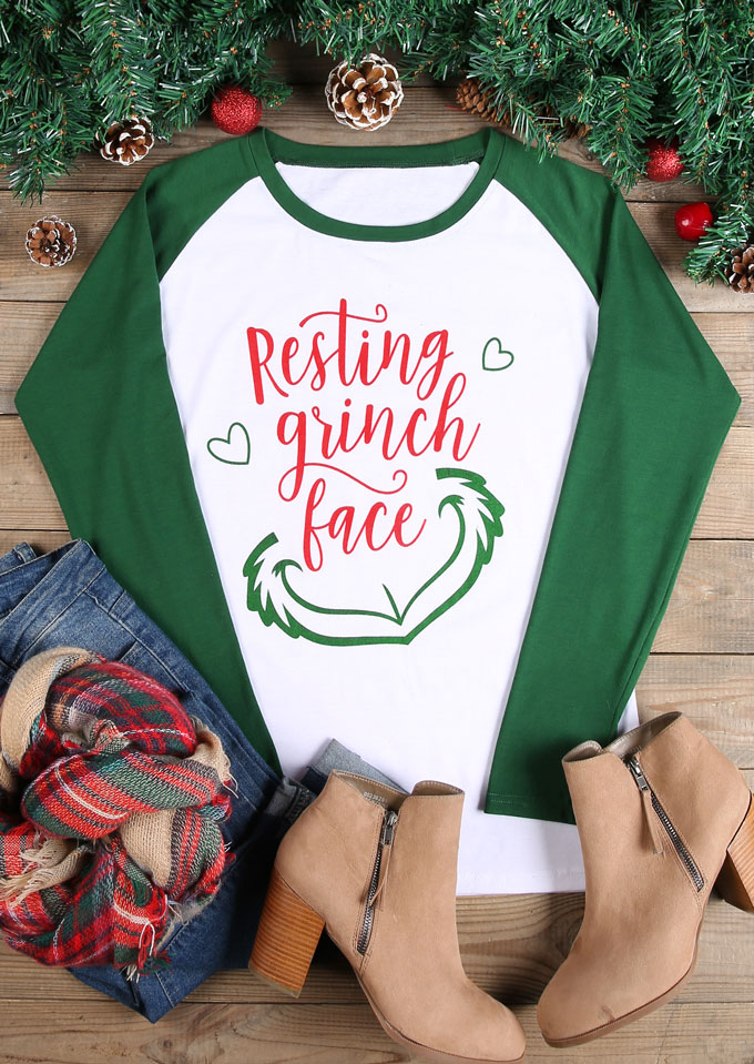 Christmas Resting Grinch Face Baseball T Shirt Fairyseason
