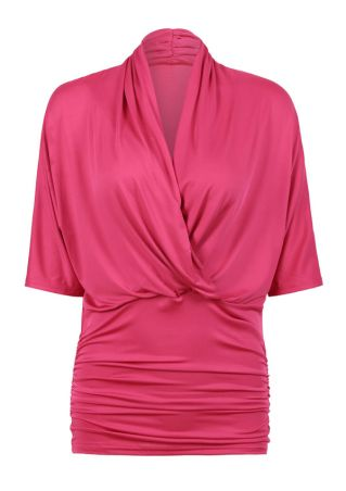 Solid Wrap V-Neck Ruched Blouse