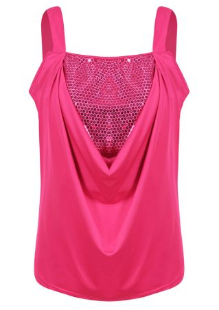 Sequined Splicing Sleeveless Tank
