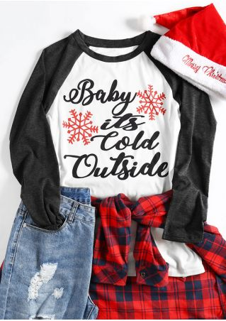 18dee4696 Christmas Plus Size Baby It's Cold Outside Snowflake Baseball T ...