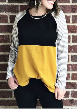 Color Block Striped Baseball T-Shirt without Necklace