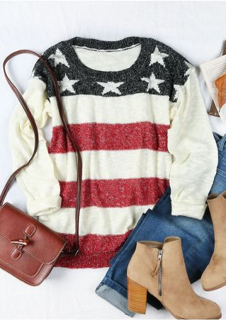 Color Block Star O-Neck Sweater