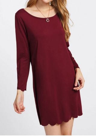 Solid O-Neck Mini Dress without Necklace