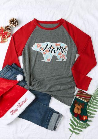 Mama Bear Floral O-Neck Baseball T-Shirt