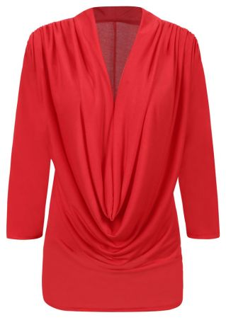 Solid Draped Three Quarter Sleeve Blouse
