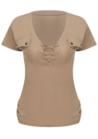 Solid Lace Up Pocket Blouse