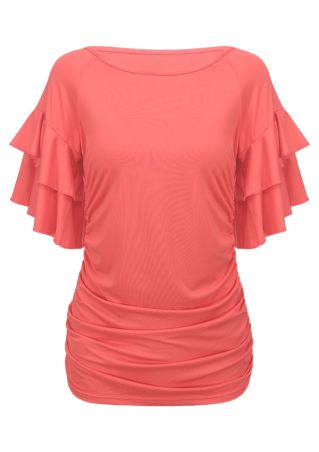 Solid Layered Flouncing Runched Blouse