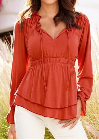 Solid Ruffled Layered V-Neck Blouse