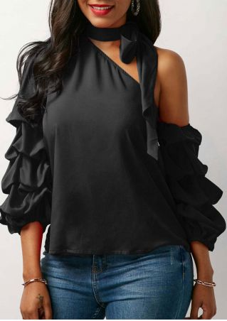 Solid Ruffled One Shoulder Blouse