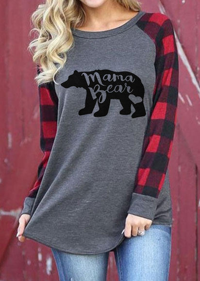 Mama Bear Plaid O-Neck T-Shirt фото