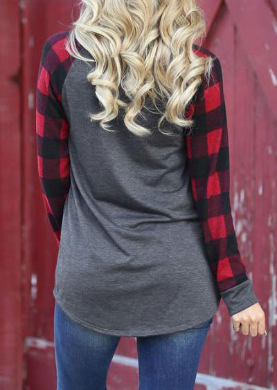 Tees T-shirts Mama Bear Plaid O-Neck T-Shirt in Gray. Size: S,M,L,XL фото