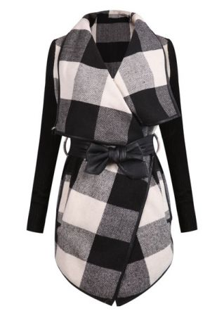 Plaid Long Sleeve Coat with Belt