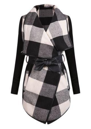 Plaid Long Sleeve Coat with Belt