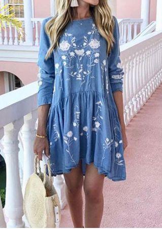 Embroidery Ruffled O-Neck Mini Dress