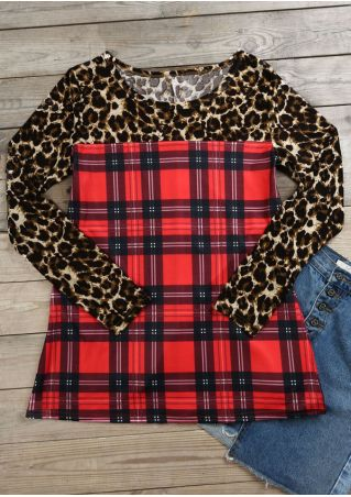 Leopard Printed Plaid Lace Splicing T-Shirt
