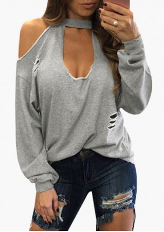 Solid Hollow Out Cold Shoulder Blouse