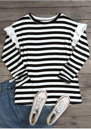 Striped Flouncing Long Sleeve T-Shirt