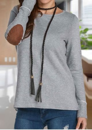 Elbow Patch Button Long Sleeve T-Shirt without Necklace