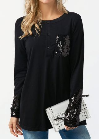 Solid Sequined Splicing Pocket Long Sleeve T-Shirt