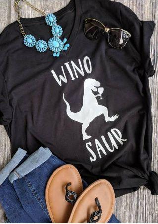 Winosaur Dinosaur V-Neck Short Sleeve T-Shirt